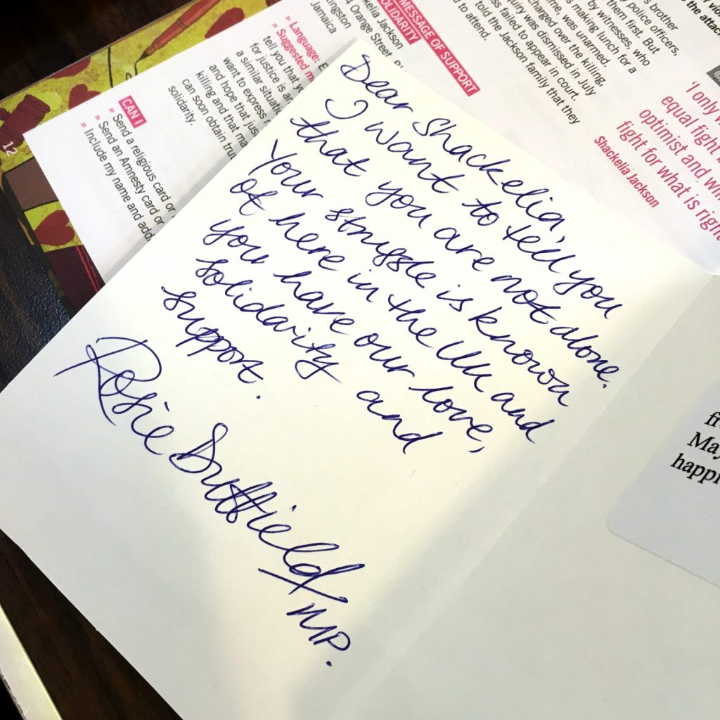 Rosie's letter to Women's Rights Defender Azza Soliman. Whose human rights are being attacked.